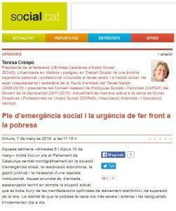 Ple d'emergència Social i pobresa, article d'opinió de Teresa Crespo a Social.cat