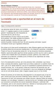 Article d'opinió sobre salut i exclusió social