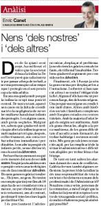 Captura de l'article sobre infància d'Enric Canet