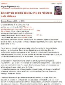 Opinió Miguel Àngel Manzano sobre serveis socials