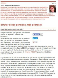 El futur de les pensions, article de Júlia Montserrat