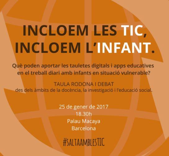 Taula rodona 'Incloem les TIC, incloem l'infant', 25 de gener a Barcelona organitzada per La Salut Alta