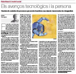 Article 'Els avenços tecnològics i la persona'