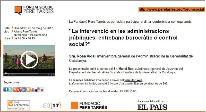Fòrum Social Pere Tarrés sobre la intervenció en les  administracions públiques, 26 de maig
