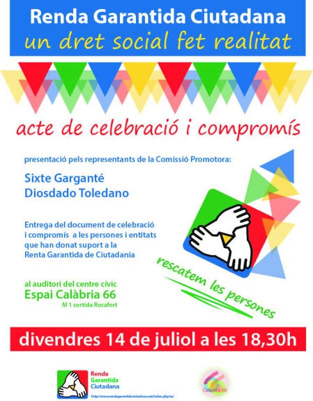 Entrega del document de compromís amb la Renda Garantida Ciutadana, 14 de juliol