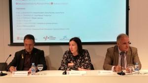 Amand Calderó, Sonia Fuertes i Jaume Farré durant la inauguració de la jornada.