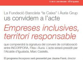 Àuria convoca l'acte 'Empreses inclusives, territori responsable'