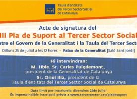 Acte de signatura del III Pla de Suport al Tercer Sector Social