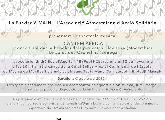 Espectacle solidari 'Cantem Àfrica', 12 i 24 de novembre