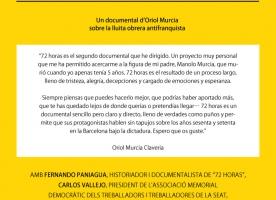 Projecció del documental '72 horas' sobre els moviments socials obrers antifranquistes, 21 de novembre