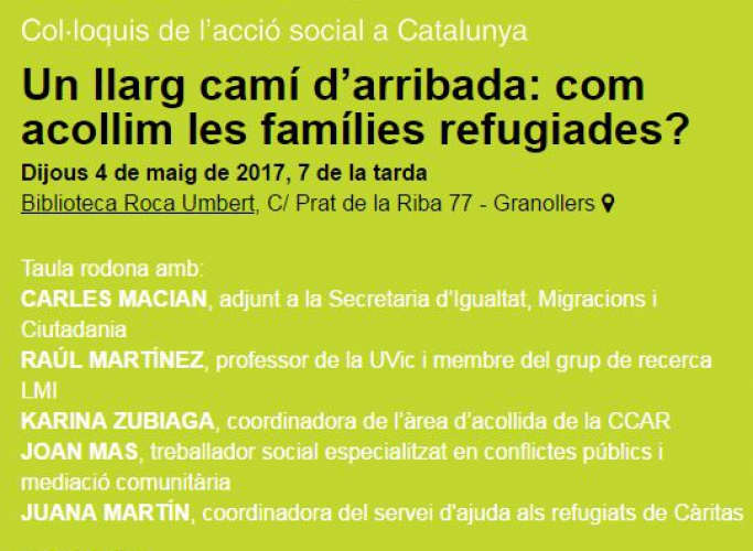 'Un llarg camí d'arribada: com acollim les famílies refugiades?', col·loqui de Social.cat a Granollers el 4 de maig