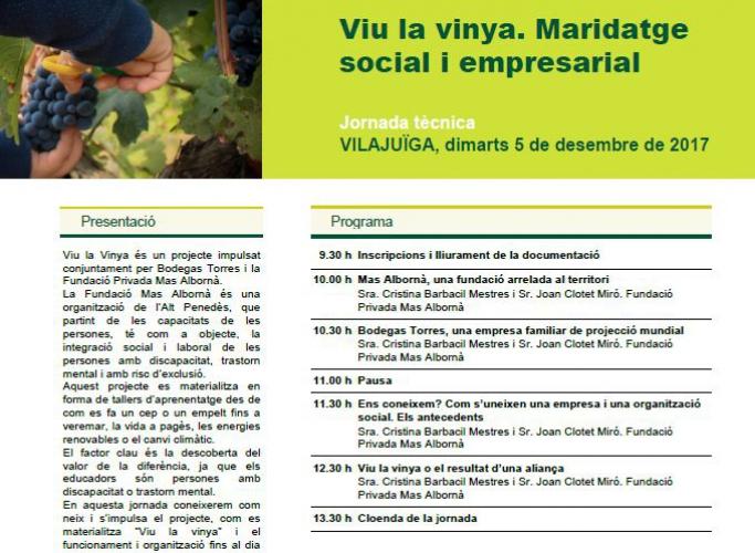 Jornada 'Viu la Vinya. Maridatge empresarial i social', 5 de desembre