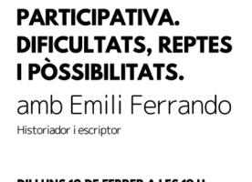 'Construir una democràcia participativa', xerrada oberta el 12 de febrer
