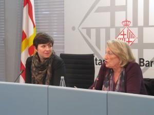 Laia Ortiz i Teresa Crespo durant la roda de premsa