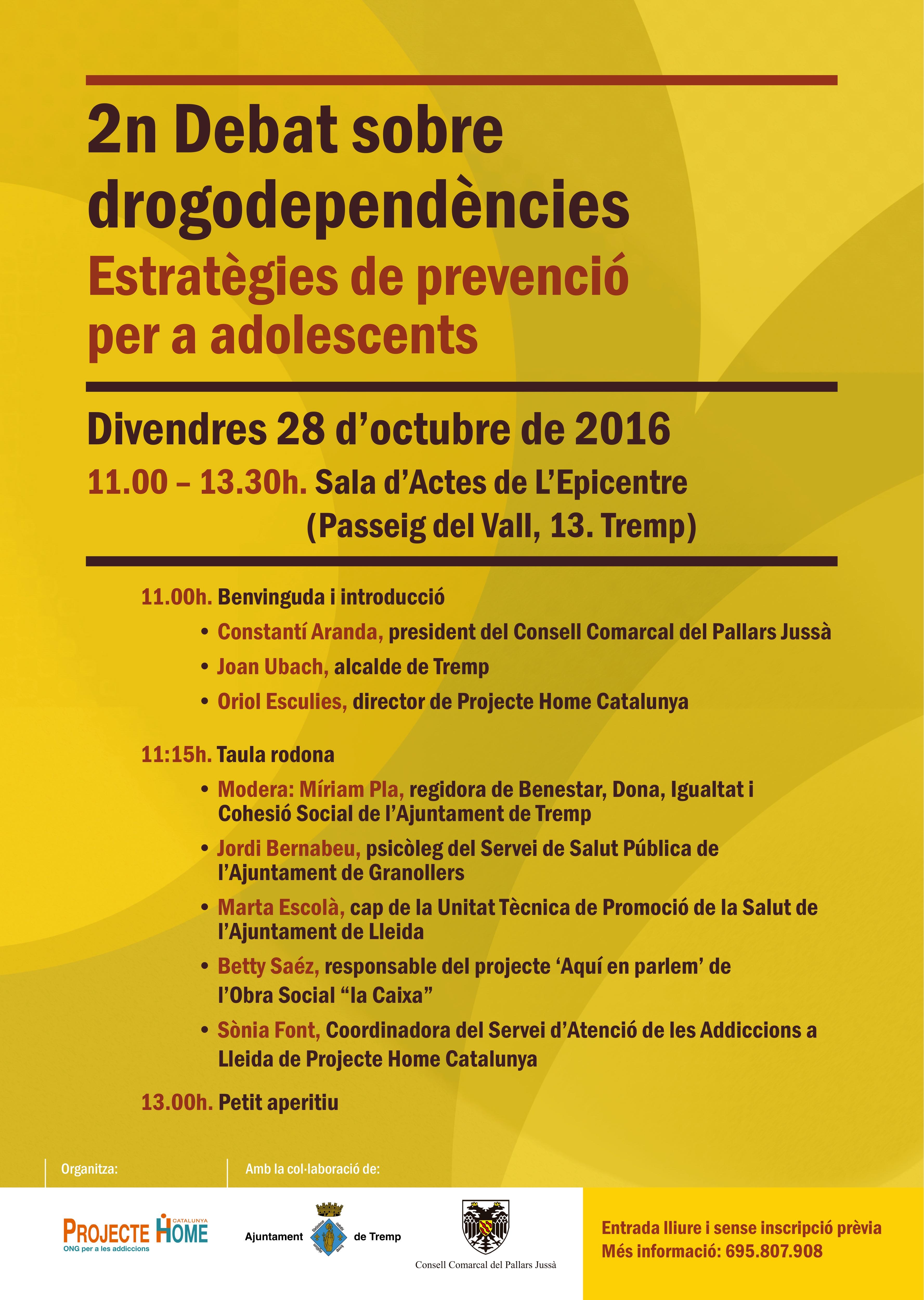 2n debat sobre drogodependències a Tremp amb Projecte Home
