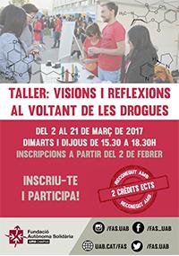 Cartell Taller 'Visions i reflexions al voltant de les drogues'