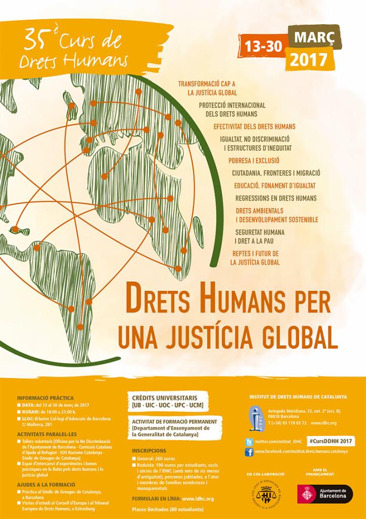 Cartell Curs anual DDHH per una justícia global