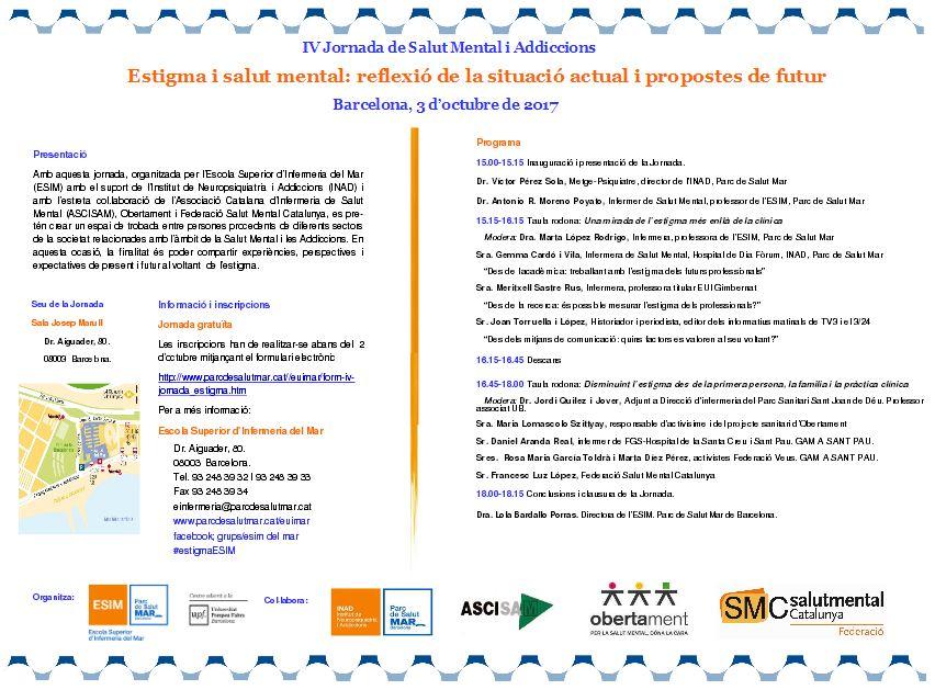 Jornada sobre estigma i salut mental, 3 d'octubre