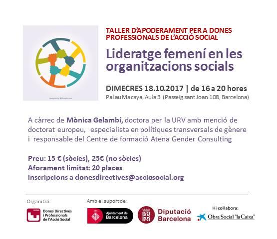Taller d'apoderament 'Lideratge femení en les organitzacions socials', 18 d'octubre