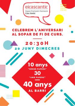 Campanya de recollida de fons i sopar per celebrar els 40 anys d'Eicascantic