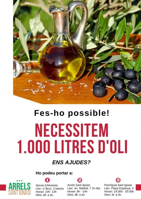 Arrels Sant Ignasi fa una crida per recollir 1.000 litres d'oli