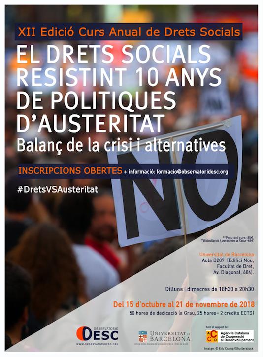 XII edició del Curs Anual de Drets Socials de l'Observatori DESC