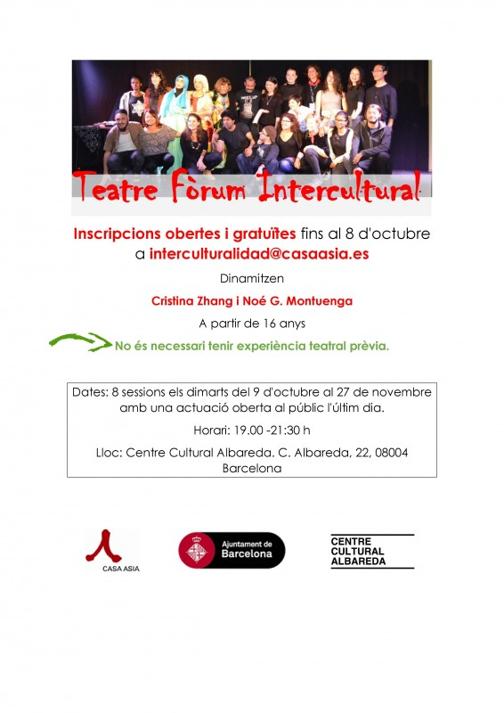 16ª edició del l'Aula de Teatre Fòrum Intercultural, octubre i novembre