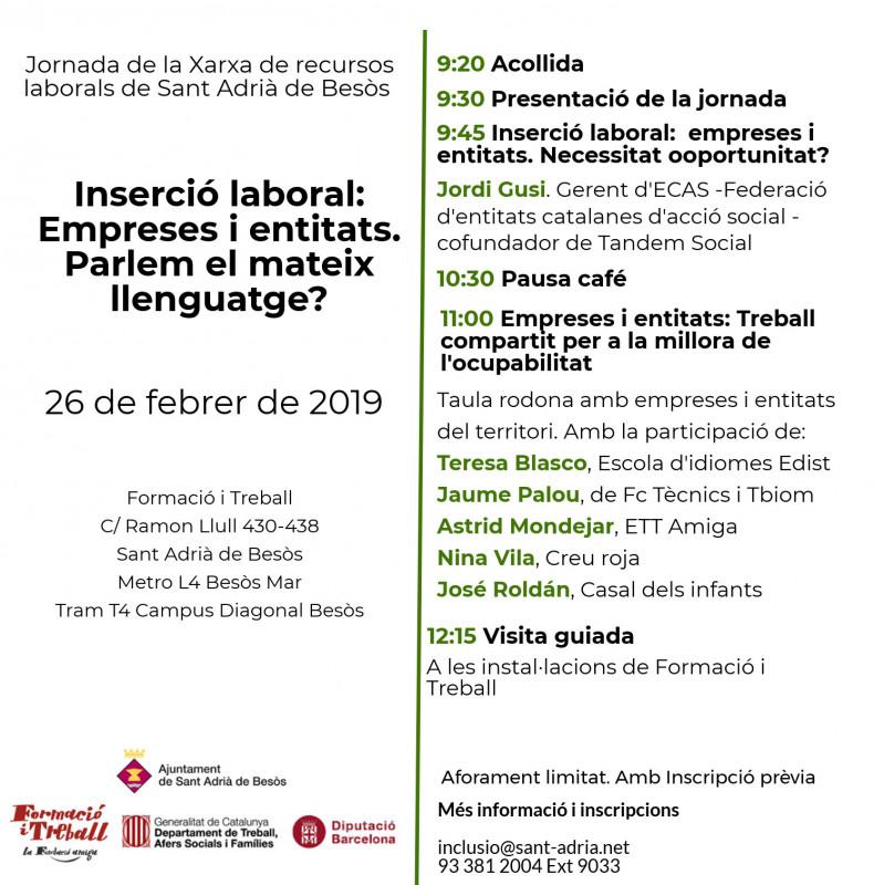 Jornada 'Inserció laboral: empreses i entitats. Parlem el mateix llenguatge?'