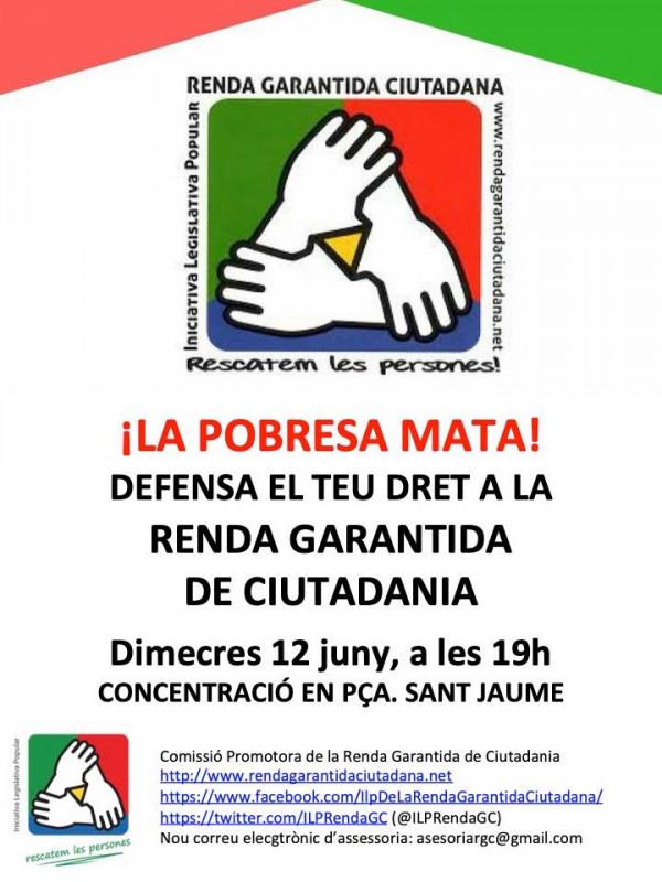 Concentració en defensa de la Renda Garantida de Ciutadania, 12 de juny