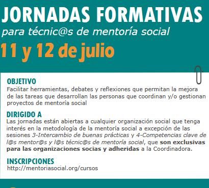 Jornades formatives per a tècnics de mentoria social, 11 i 12 de juliol