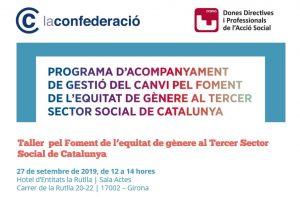 II Taller pel Foment de l'equitat de gènere, 27 de setembre a Girona
