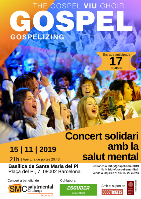 Concert de gospel a favor de Salut Mental Catalunya, 15 de novembre