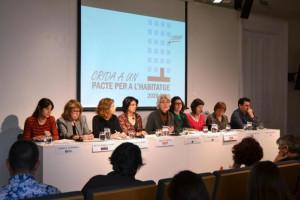Roda de premsa de presentació de la Crida a un Pacte per a l'Habitatge 2020-2030. Foto: FAVB
