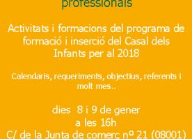 Sessions informatives per a professionals que treballen amb joves, 8 i 9 de gener