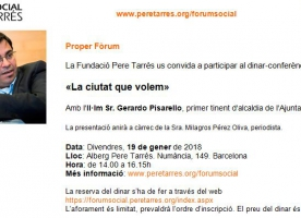 Dinar-conferència 'La ciutat que volem' amb Gerardo Pisarello, 19 gener