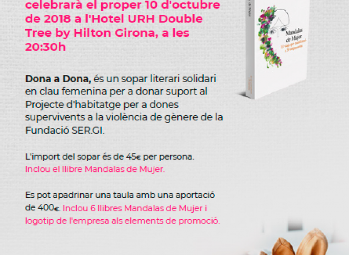 Sopar literari i solidari 'Dona a dona', 10 d'octubre a Girona