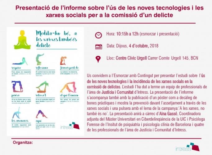 Presentació de l'estudi sobre l'ús de les noves tecnologies i les xarxes socials per a la comissió d'un delicte, 4 d'octubre