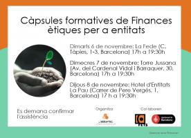 Càpsules formatives de finances ètiques per a entitats, del 6 al 8 de novembre