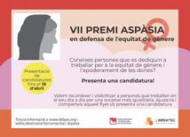VII edició del Premi Aspàsia en defensa de l'equitat de gènere
