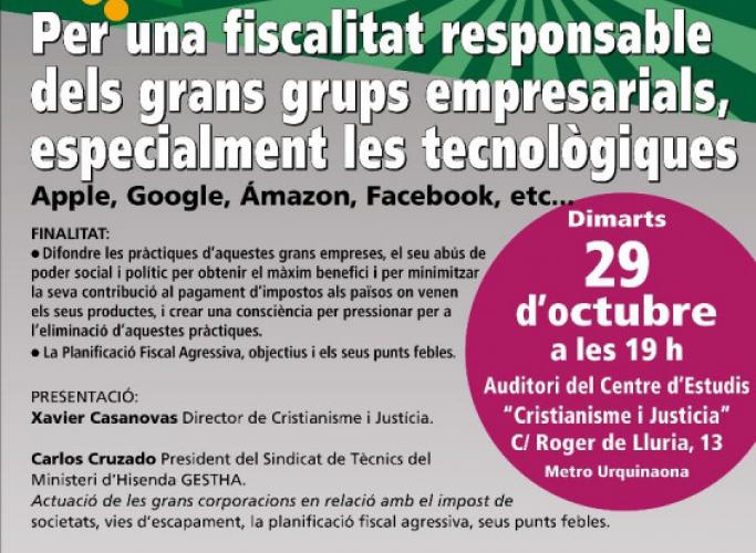 Xerrada-debat per una fiscalitat responsable dels grans grups empresarials, 29 d'octubre