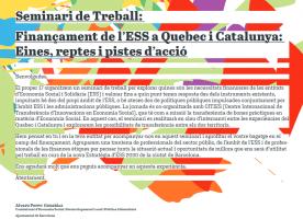 Seminari 'Finançament de l'ESS a Quebec i Catalunya', 17 de desembre