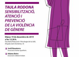 Taula rodona sobre violències de gènere, 19 de desembre a Girona