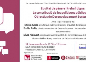 5è Diàleg DDiPAS  sobre els Objectius de Desenvolupament Sostenible: equitat de gènere i treball digne, 14 de novembre